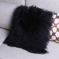 Mongolian Lamb Wool Cushion Cover Black Curly Fur Pillowcase 40X40cm High-grade