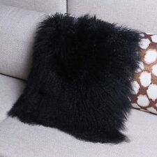 Mongolian Lamb Wool Cushion Cover Black Curly Fur Pillowcase 40X40cm High-grade