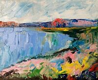 Oil Painting IMPRESSIONISM Seascape Shore Impasto Texture