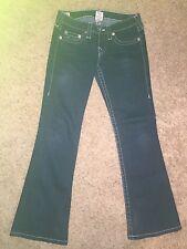 Womens VGUC TRUE RELIGION BOBBY Sz 28 Low Rise Boot Cut Dark Blue Jeans