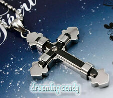 Korean TVXQ Tohoshinki Binded 2 Layer Cross Necklace Fine Stainless Steel