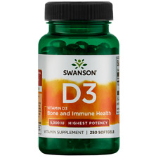 Swanson Highest Potency Vitamin D-3 Softgels, 5,000 IU, 250 Count