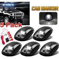 5x Black Smoked Len White LED Cab Roof Marker Running Lights For 03-18 Dodge RAM