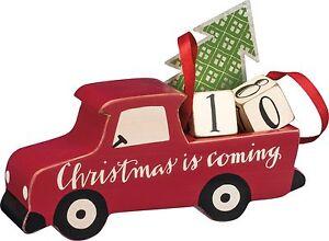 Vintage Red Truck Christmas Countdown Blocks Advent Calendar Primitives by Kathy