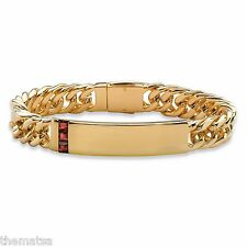 "MENS 14K GOLD RED GARNET SQUARE CUT 8"" CURB LINK BRACELET  GP"
