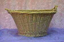 ANCIEN VINTAGE PANIER EN OSIER DE COURSE A CHAMPIGNON BÛCHE BOIS Wicker basket
