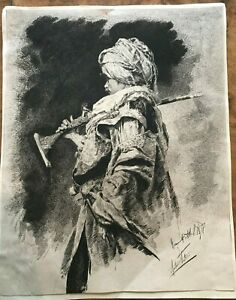 Antonio María Fabres Arabic Soldier Holding Musket Etching 1878 SIGNED
