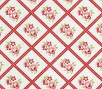 Tanya Whelan Cottage Shabby Chic Lulu Roses Cotton Fabric Libby PWTW095-Red BTY