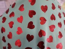1yd print red foil on mint fabric good weight 4way stretch spandex lycra J4883