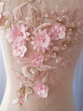 Bridal Lace Applique Beaded Wedding Motif Floral Pink Sewing on Lace Trim 1 PC