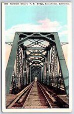 Northern Electric R.R. Bridge in Sacramento, California White Border Postcard