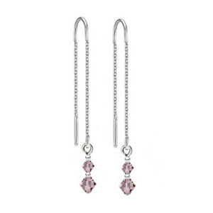 Sterling Silver Pull Thread Earrings Light Amethyst Crystals from Swarovski®