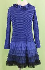 297 Kate Mack girl blue striped MESH dress ruffle tutu tiered bottom EUC 6x