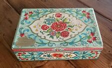 Dahar Floral Hinged Mrs. Denson's Cookies Gifts Collector Tin Container England