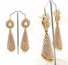 Pearl Designer Bollywood Jewelry Gold White Tone Indian Earrings Jhumka Jhumki