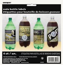 4 x Jazzy New Year Party Themed Soda Pop Bottle Labels celebrations 63503