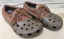 CROCS Islander Brown Leather Rubber Oxfords Boat Shoes Loafers Men's 7 Women's 9