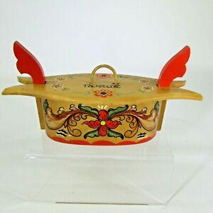 Vintage wood Norway Norge Rosemaling tine box Scandinavian folk art