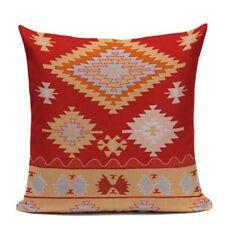 print blue red Turkish ethnic kilim diamond pattern pillow case cushion cover