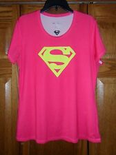 Ladies UNDER ARMOUR HeatGear SUPERMAN Pink Fitted Top Size XL VGC