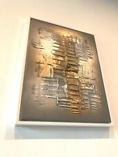 UK ARTIST Ex ShowHome Canvas Painting Original Abstract Gold Silver Grey Framed