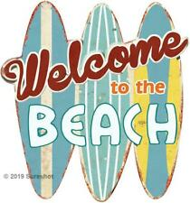 Welcome to the Beach Metal 3 D Metal Sign Surfboards man cave old Faux Vintage