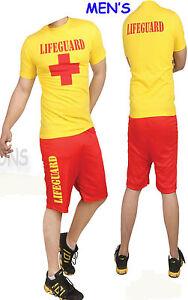 Lifeguard Beach Costume Life Saver Float t shirt shorts swimming costume yellow