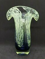 Tulip Art Glass Vase, Amethyst to clear gradient from base, lime green confetti