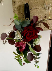 Rustic Dark Red Pew/ Chair End Artificial Flowers X 5