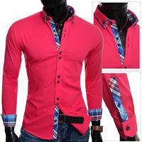 Men/'s Button Down Collar Shirt Smart Cotton Navy Blue Cyan Check Cuffs Slim Fit