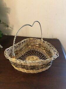 Brushed Gold Color Heart Wire Basket with Handle - 8 x 7 x 2.5