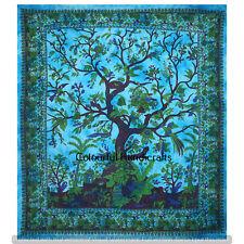 Mandala Tree Of Life Cotton Tapestry Queen Handmade Bedding Bedspread Throw Wall