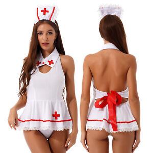 Women Nurse Lingerie Crotchless Bodysuit Nightwear Fancy Dress Cosplay Costume