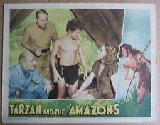 TARZAN AND THE AMAZONS~JOHNNY WEISSMULLER~ORIG 1945 LOBBY CARD~SHEFFIELD~G/VG b