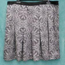 Box Pleat Mini Skirt UK 20 Black & White Mosaic Print Slinky Lined Silk Feel