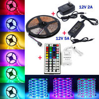 5M RGB 3528 5050 Waterproof LED Strip light SMD 44 Key Remote 12V Power Full Kit