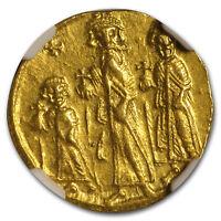 Byzantine Gold Solidus Emp Heraclius,Her,Con. 632-641 AD AU NGC - SKU#173573