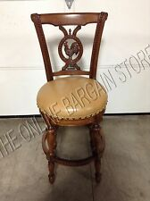 Frontgate Provencal Rooster Swivel Brown Barstool Chair Counter BAR Leather