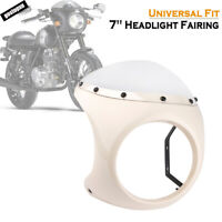 "White 7"" Motorcycle Cafe Racer Headlight Fairing Windscreen Windshield Cover"