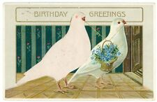 Postcard - Silk Add-On, 2 White Doves, Birthday Greetings - 1911