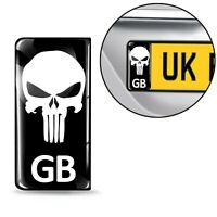 3D Silicone Domed License Number Plate Road Stickers GB Punisher Skull Logo QS26