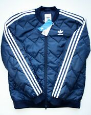 Blue Adidas Quilted Bomber Jacket Coat NEW WITH TAG Men's size Medium Navy