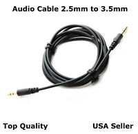 2.5mm to 3.5mm Audio Cable Cord Aux Headphone Car PC Recording Connect Cable 5FT