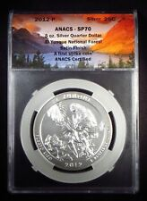 "2012 America the Beautiful ""EL YUNQUE"" 5oz Silver Quarter Dollar ANACS SP70"