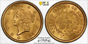 1854-P $1 LIBERTY GOLD, PCGS MS-64 - Nice Original Look - izx