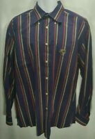 FACONNABLE Men's Button up Shirt Blue Red Green Striped Large A532