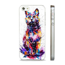 NEW WATERCOLOUR ART CAT CUTE CASE FITS  IPHONE 4 4S 5 5S 5C 6 6S 7 8 SE PLUS X