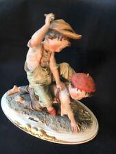 Giuseppe Armani Capodimonte Figurine Two Boys Playing horseback ride