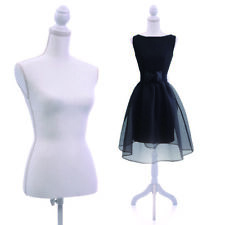 Adjustable Female Mannequin Torso Dress Form Display Pattern W/WhiteTripod Stand