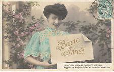 Carte Postale Fantaisie Ancienne  Carte Bonne année à Mariette 1906